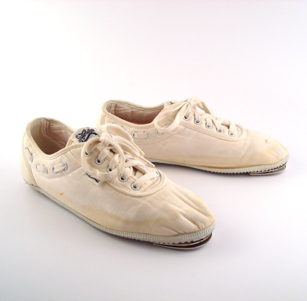 tap shoes white canvas sneakers vintage 1980s sugar babies