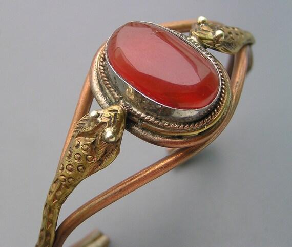 Vintage Oriental Egytpian Revival Snake Carnelian Cuff Bracelet Bangle Handmade
