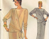 Long Maxi Dress Asymmetrical Draped Panel tied to side Vogue 8763 Vintage 1970s Sewing Pattern Size 8 Bust 31.5 inch Push up Sleeves