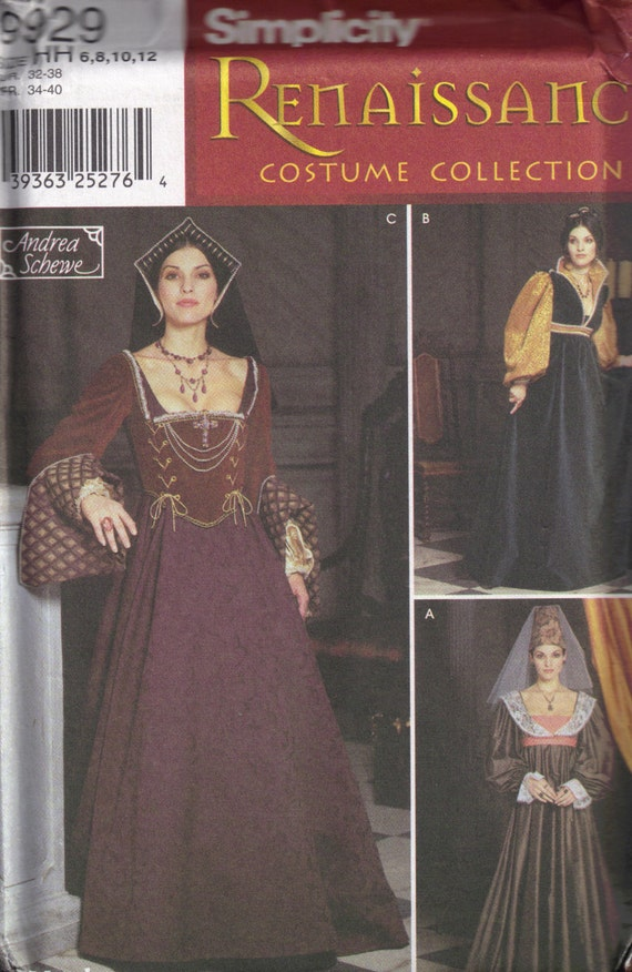 Simplicity 9929 Misses Sewing Pattern Renaissance Reenactment Gown Size 6, 8, 10,12 Bust 30,5, 31.5, 32.5, 34