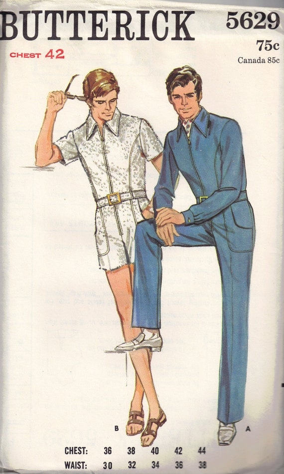 Vintage 1960s Mens Butterick 5629 Retro Front Zippered Jumpsuit Sewing Pattern Size 42