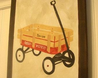 "boy kid room decor..baby nursery wall art..original canvas painting..painted artwork..11 x 14 vintage radio flyer ""my little red wagon"""