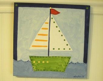 Sailboat canvas painting 12 x 12 Nautical boat Original hand painted Boy room decor Baby shower nursery Children wall art Kid bedroom ocean