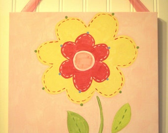 "Baby nursery wall art Girl kid room decor Original canvas painting Painted artwork 12 x 12 ""yellow spring flower"" pink daisy garden floral"