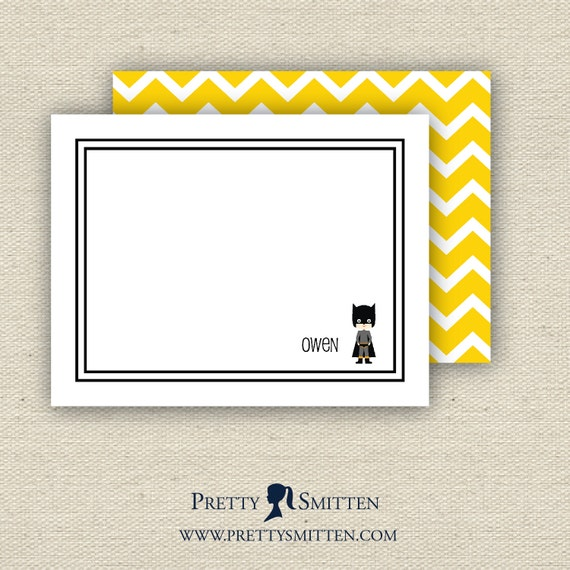 Personalized Flat Note Cards - SUPERHERO Collection