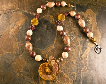 Handcrafted Ammonite Fossil, Tiger's Eye, Petrified Wood, Garnet, Jasper, and Sterling Silver Necklace (N089)