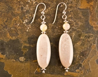 Handcrafted Dendritic Agate, Bamboo Agate, and Sterling Silver Earrings (E205)