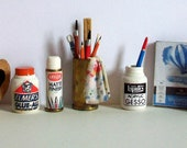 Miniature Assortment of Art Supplies (1 inch dollhouse scale)