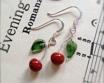 Glass Cherry Earrings on Sterling Silver Ear Wires by Bullseyebeads