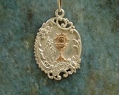 French Edwardian Antique Sterling Silver and Gold Chalice Eucharist Communion Medal Pendant
