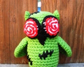 Zombie Owl, Halloween owl, plush crochet owl in Electric Lime Green, ready to ship.