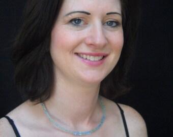 Brilliant Blue/Green Glass Bead Choker Necklace