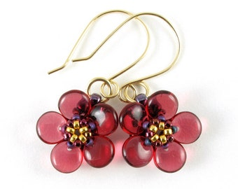 Handcrafted Cranberry Blossom Beaded Earrings