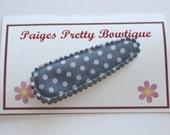 50mm Grey & White Polka Dot Snap Clip-Baby Hair Clip-Toddler Hair Clip