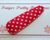 50mm Red & White Polka Dot Snap Clip-Baby Hair Clip-Toddler Hair Clip