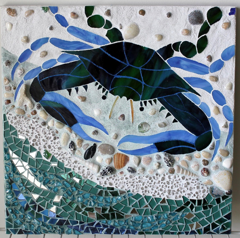 Mosaic Multi-Media Maryland Blue Crab Seashore Water