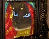 Siamese Cat Art, Cat Dressed in Indian Sari Robes 5x7 Print DISCONTINUED
