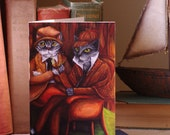 Cats Dressed as Sherlock Holmes and Dr Watson, Blank Art Greeting Card
