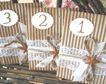 Rustic Table Numbers, Lace, Rusty Star and Rope, WeddingTable Numbers