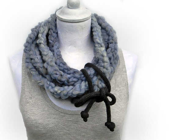 Crocheted extra long infinity scarf , wool yarn dusty blue, light grey, charcoal grey, titanium grey. Chunky winter accessories