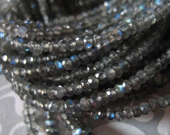 Shop Sale.. LABRADORITE Rondelles Beads, Luxe AAAA, 3 mm, 1/2 Strand, Silver Gray Grey, tons blue flashes neutral top solo