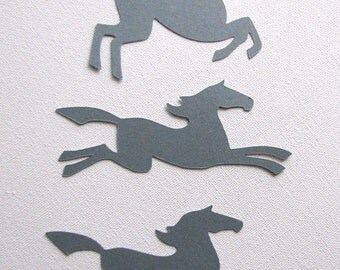 Horses die cut embellishments  grey set of 9