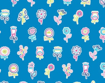 Summersault Flowerpop in Lake by Erin McMorris for Free Spirit - 1 Yard