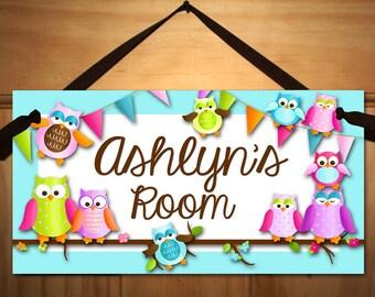 Fun Owls DOOR SIGN Nature Forest Bedroom and Baby Nursery Kids Bedroom Wall Art DS0385