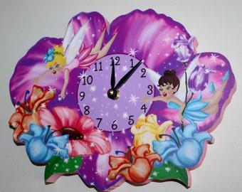 Fairy Wooden WALL CLOCK for Girls Bedroom Baby Nursery WC0032