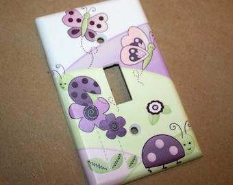 Plum Love Bugs Girls Bedroom Single Light Switch Cover LS0047