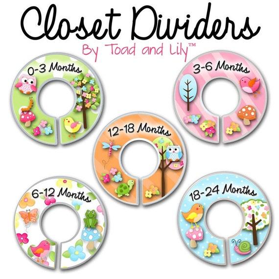 CLOSET DIVIDERS Owls Love Birdies Girls Nature Forest Bedroom and Baby Nursery Art Decor CD0004