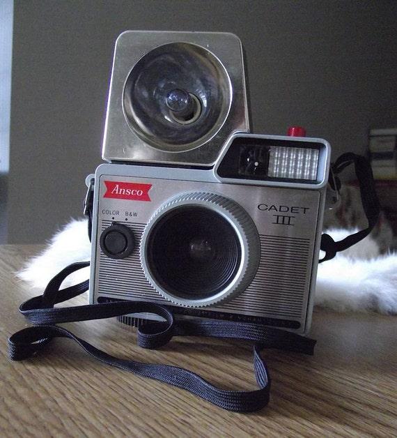 1960's Vintage Camera - Ansco Cadet III with Flash, Bulbs, & Case