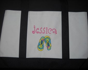 Personalized Beach Tote bag, Name and Flip Flops w Palm trees. Bridesmaids gift. Embroidered Nice bag.
