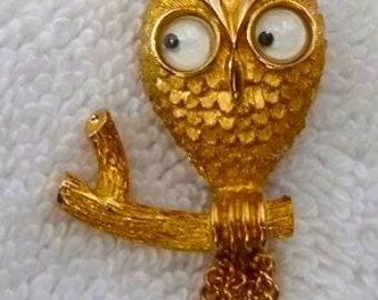 Vintage Owl Gold Googly Eyes Pin Brooch Eames Era Mid Century Modern Mod
