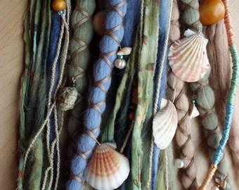 10 Mermaid Tie-Dye Wool Synthetic Dreadlock *Clip-in or Braid-in Extensions Boho Dreads Hair Wraps & Beads Custom
