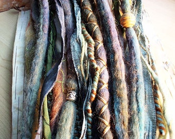 10 Cool Tones Tie-Dye Wool Synthetic Dreadlock *Clip-in Extensions Boho Dreads Hair Wraps & Beads Custom