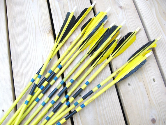 Vintage Set of 12 Yellow Arrows and Brown Leather Quiver - Farmhouse Chic - Industrial Decor