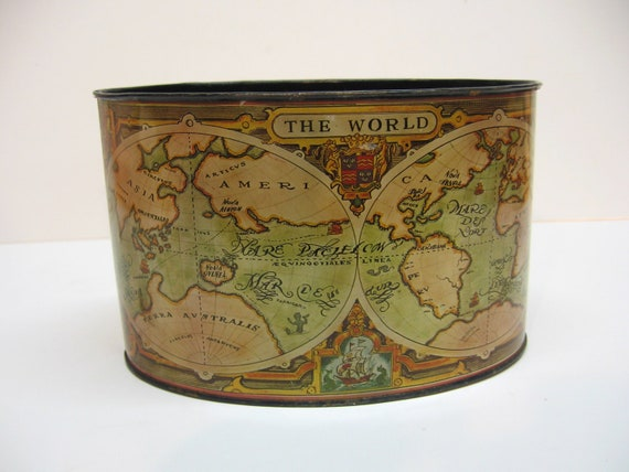 Vintage Tin Desk Caddy - Old World Map Graphics - Office Decor - Pencil Holder
