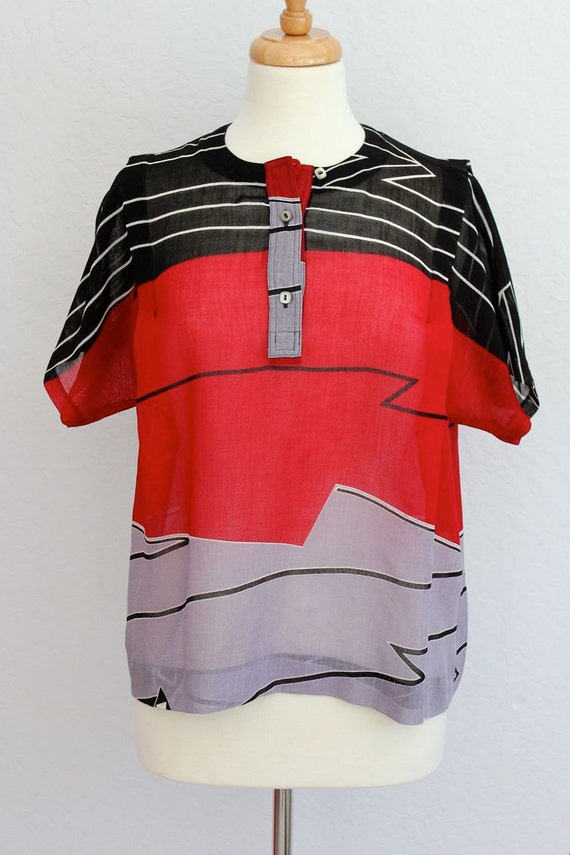Abstract Stripes 80's Blouse S-M