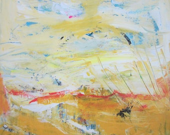 A Perfect Day - Abstract Landscape Yellow Art Original Modern Contemporary Painting, 20x20 inches, Ready to Hang