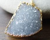 Blue Druzy Gold Necklace - OOAK