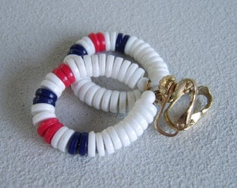 Vintage Red White Blue Hoop Earrings Nautical Dangles