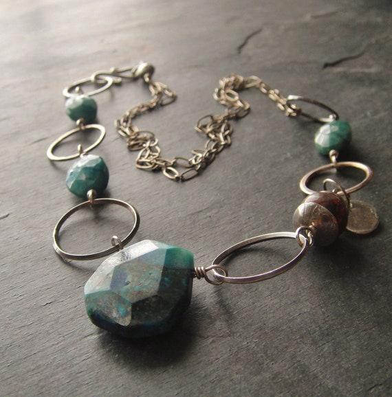 Chrysocolla, Cuprite, Sterling Silver Necklace, Artisan Necklace, Sundance Style, Artisan Jewelry