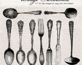 Vintage silverware, digital clip art and photoshop brushes: Commercial and Personal Use
