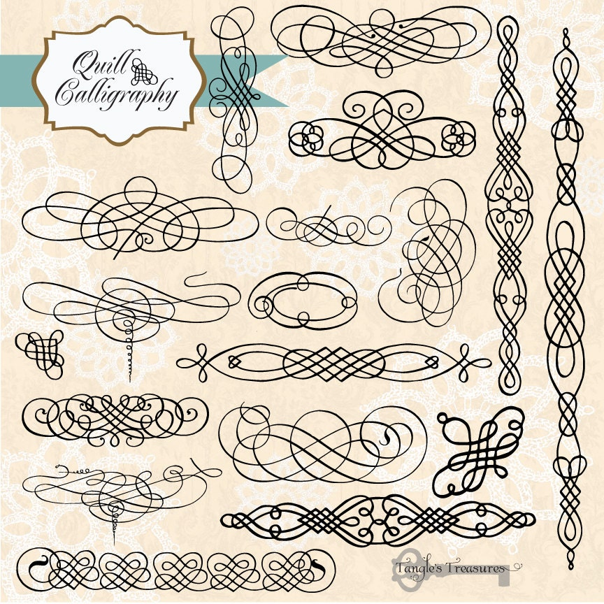 Vintage Quill Calligraphy Digital Clip Art And Photoshop