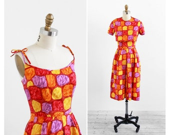 vintage 1960s dress / 60s dress / Red, Yellow, and Purple Abstract Print Dress and Tie Top