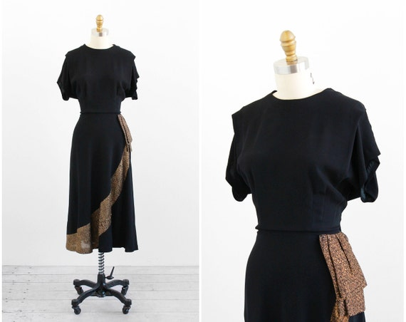vintage 1940s dress / 40s dress / Black and Gold Art Deco Ruffle Swing Dress
