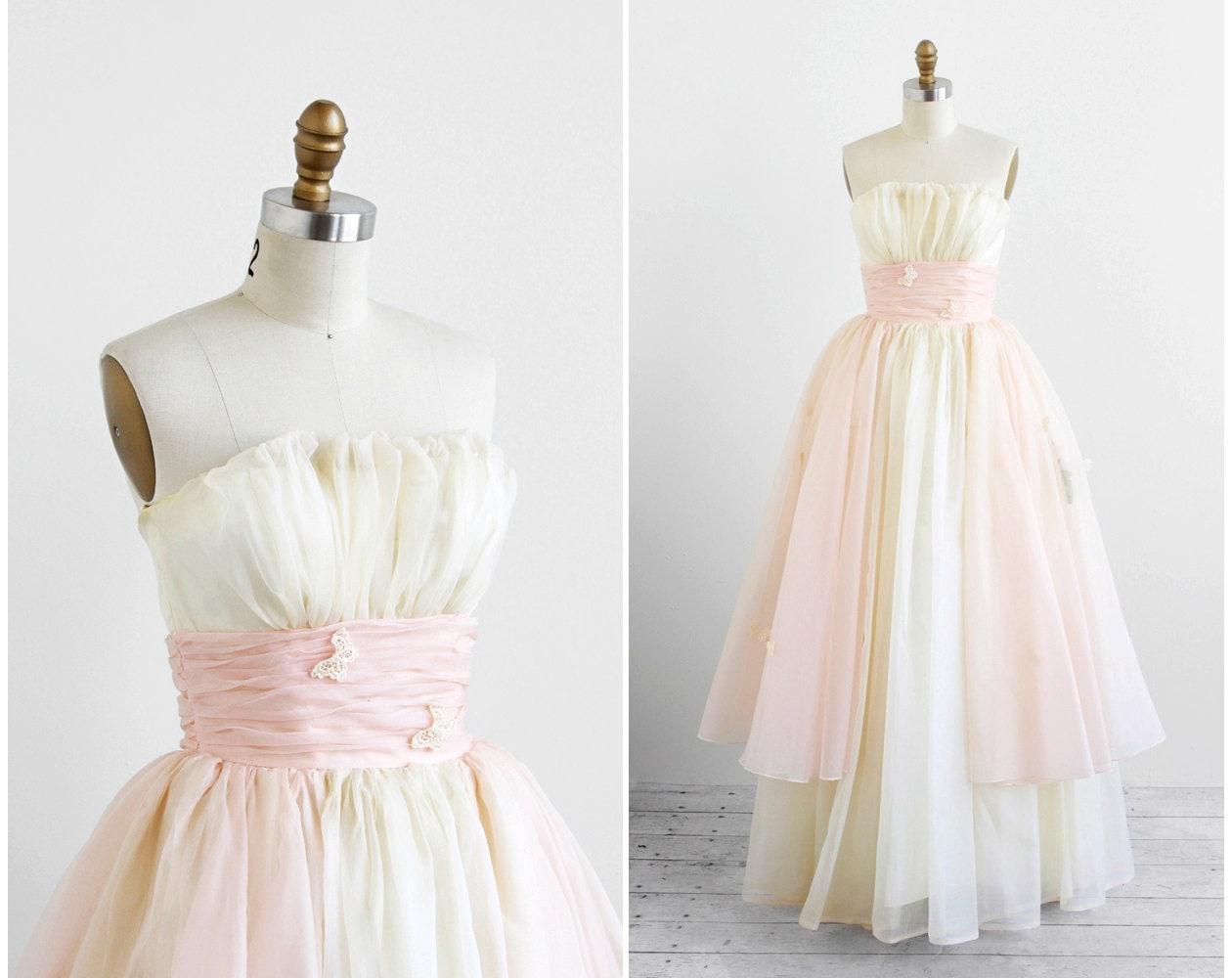 Vintage 1950s wedding dress pink wedding dress 50s white for Pink vintage wedding dress