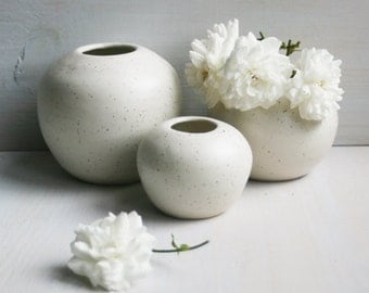 Set of Round White Speckled Ceramic Vases Handcrafted Stoneware Pottery Made in USA