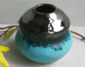 Vase Handmade Ceramic Vase in Shiny Silver and Turquoise Glaze Small Vase Made in the USA Ready to Ship